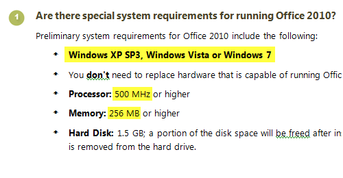 Office 2010 System Requirements; click to see full image