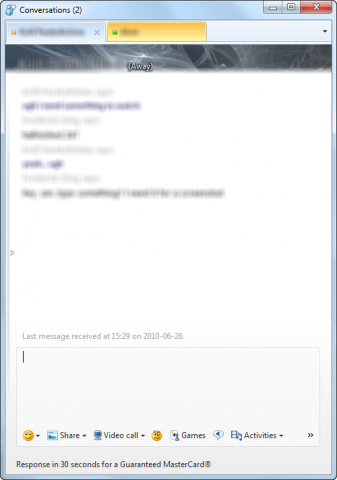 Tabbed chat window in Windows Live Messenger Wave 4