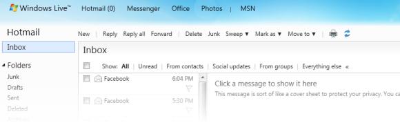 Hotmail inbox screenshot