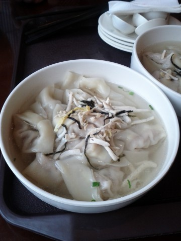 A bowl of wontons for breakfast