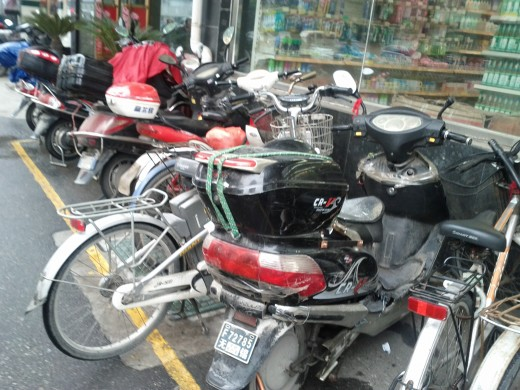 Mopeds parked