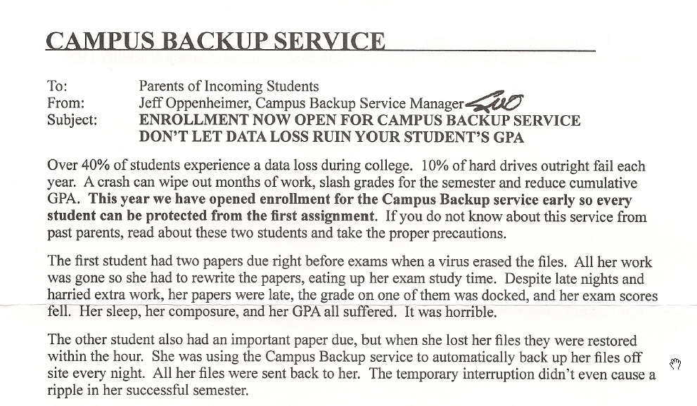 Campus Backup Service marketing letter