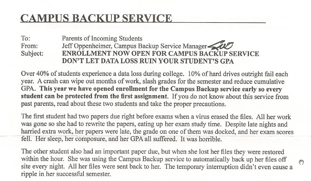Campus Backup Service marketing letter