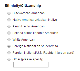 Ethnicity or Citizenship question on survey