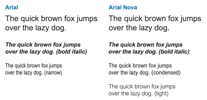 Arial vs. Arial Nova