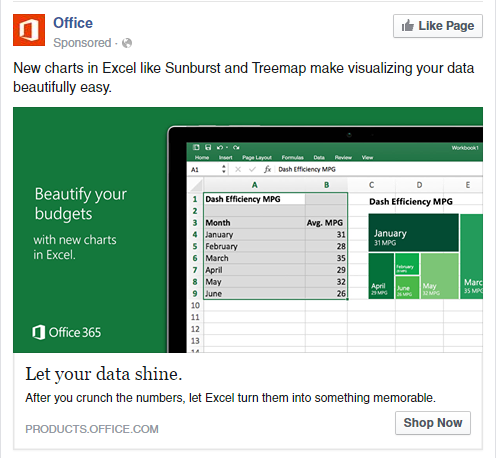 Ad for Excel visualization features